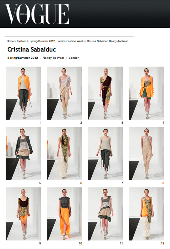Cristina Sabaiduc, fashion designer, London Fashion Week, Vogue, british vogue, vogue uk