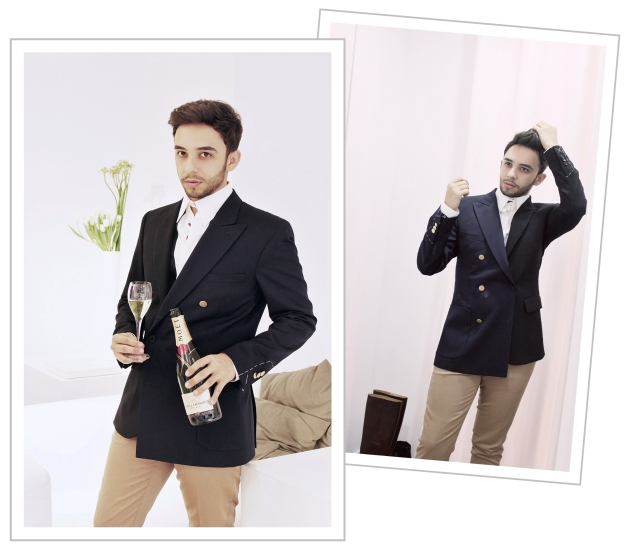 Maison Martin Margiela, H&M, H&M showroom, Margiela for H&M, margiela clothes, mauvert, claudiu enescu, double jacket, margiela blazer, moet, champagne