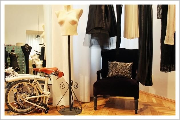 Parlor, fashion designer, showroom, Brompton, bicycle, armchair