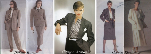 mauvert, costumul feminin, femei elegante, anii 80, pantaloni femei, power dressing, power suit, Donna Karan, Calvin Klein, Giorgio Armani
