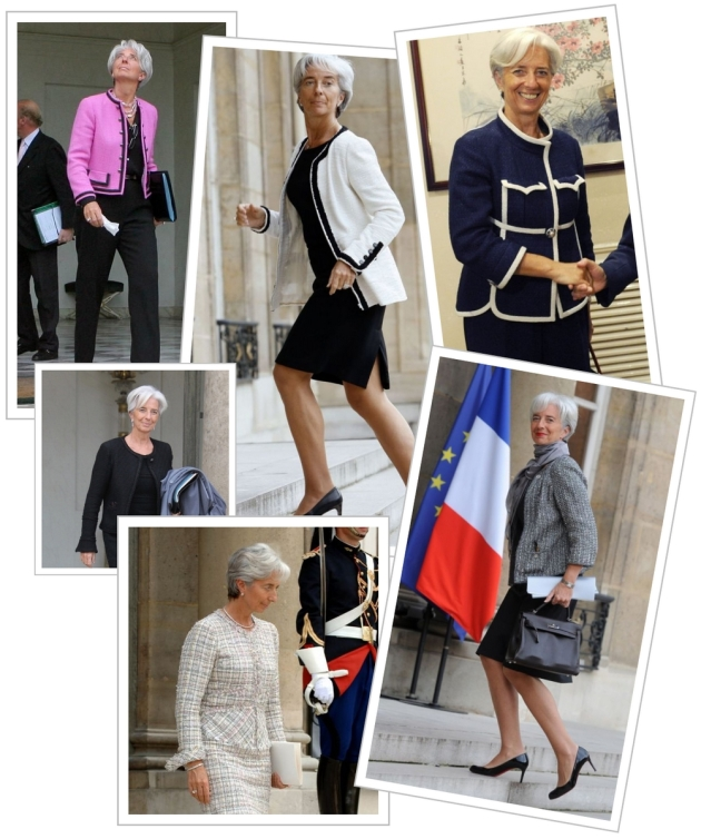 CHRISTINE LAGARDE, fmi, fmi woman, powerfull women, femei puternice, fashion, stil, style, mauvert, power fashion, chanel, chanel suits, chanel jacket, hermes bag