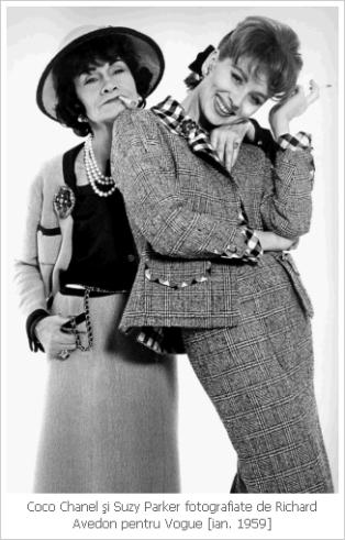Chanel, coco chane, chanel suit, costumul Chanel, mademoiselle chanel, mauvert, costumul feminin, Suzy Parker, richard avedon, vogue 1959, vogue
