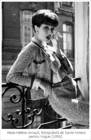 Chanel, coco chane, chanel suit, costumul Chanel, mademoiselle chanel, mauvert, costumul feminin, Marie-Hélène Arnaud, sante forlano, vogue 1958, vogue