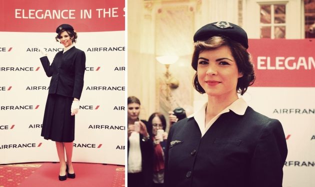 Air France, Elegance in the sky, uniforme, uniforme stewardese, uniforme vintage, armark, mauvert, georgette de treze